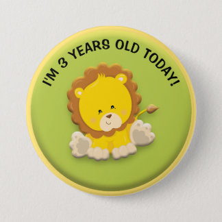 Cute Lion on Green Birthday Button