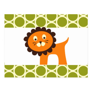 Cute Lion on Green Pattern Gifts for Kids Postcard
