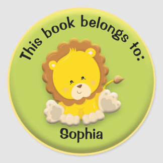 Cute Lion on Green Personalized Book Name Plate Classic Round Sticker