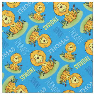 Cute lion personalized name kids fabric