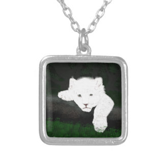 cute lion silver plated necklace