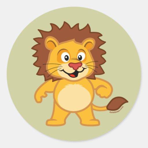 Cute Lion Round Stickers
