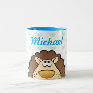 Cute Lion with Baby's name, custom color hearts Two-Tone Coffee Mug