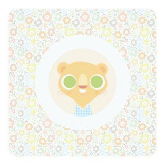 Cute lioness plushie & sunny floral pattern 13 cm x 13 cm square invitation card