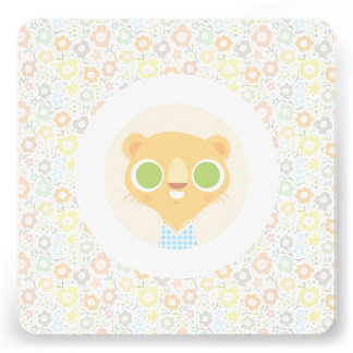 Cute lioness plushie sunny floral pattern custom invite