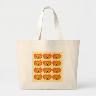 Cute lions on gold large tote bag
