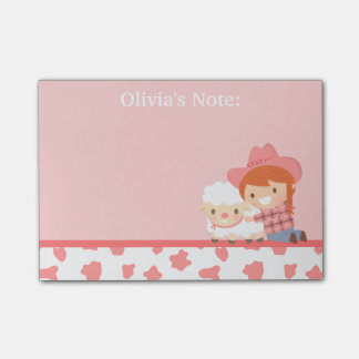 Cute Litlte Cowgirl with Lamb For Girls Post-it Notes
