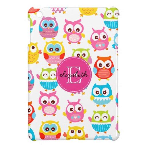 Cute Litte Owls Monogrammed iPad Mini Case