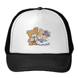 cute litte teddy bear wedding couple cap