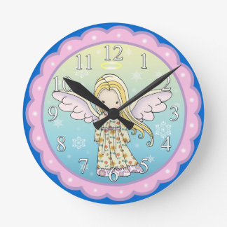 Cute Little Angel Girls Wall Clock