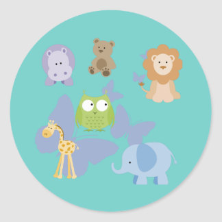 Cute Little Animals and butterflies Classic Round Sticker