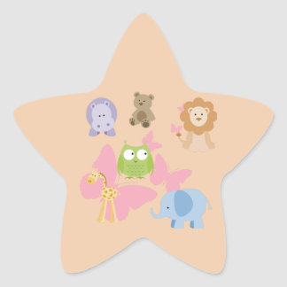 Cute Little Animals and butterflies Star Sticker