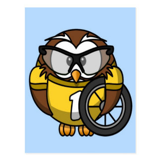 Cute little animated cyclist owl postcard