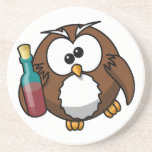 Cute little animated drunk owl beverage coaster