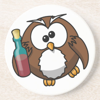 Cute little animated drunk owl beverage coasters