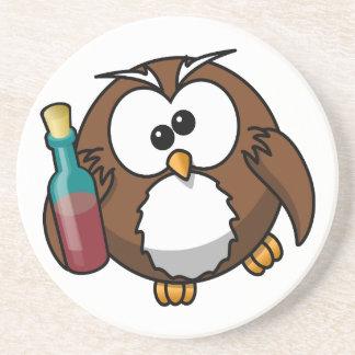 Cute little animated drunk owl beverage coaster