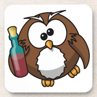 Cute little animated drunk owl coasters