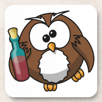 Cute little animated drunk owl drink coasters