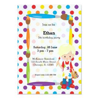 Cute Little Artist 13 Cm X 18 Cm Invitation Card