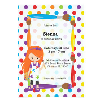 Cute Little Artist 13 Cm X 18 Cm Invitation Card