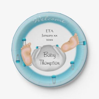 Cute Little Baby Butt Blue Boy Baby Shower Paper Plate