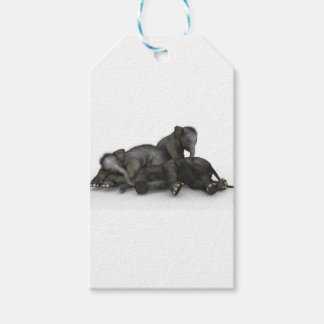 cute little baby elephants playing gift tags