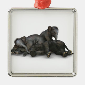 cute little baby elephants playing metal ornament