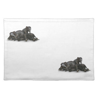 cute little baby elephants playing placemat