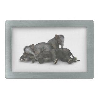 cute little baby elephants playing rectangular belt buckle