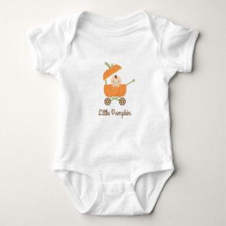 Cute Little Baby In Orange Pumpkin Carriage Baby Bodysuit