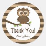 Cute Little Baby Owl | Baby Shower Thank You Round Sticker