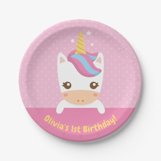 Cute Little Baby Unicorn 1st Birthday Party Plates