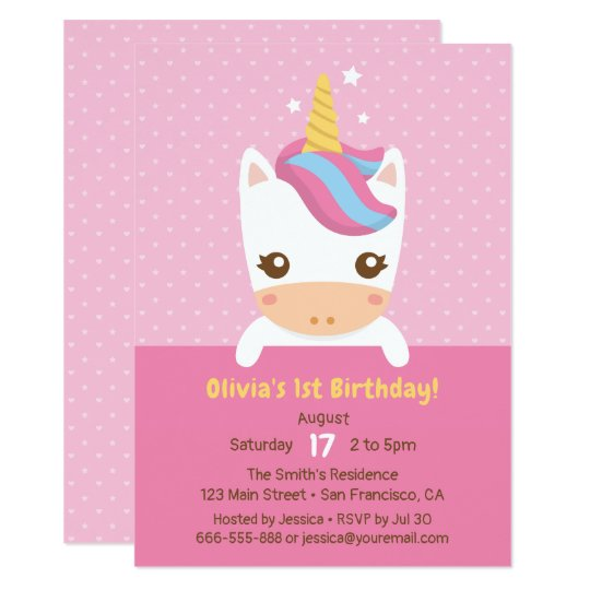 Cute Little Baby Unicorn First Birthday Party Card