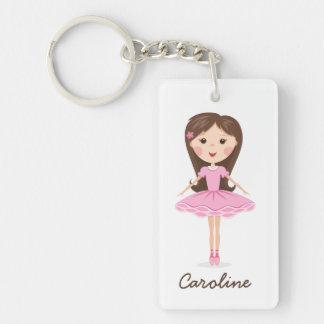 Cute little ballerina cartoon girl personalized acrylic keychains