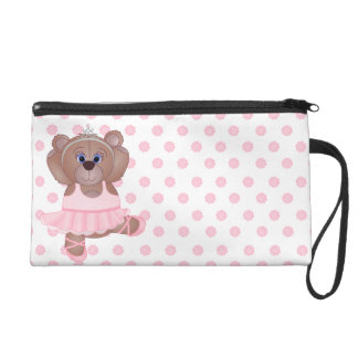 Cute Little Ballerina Cartoon Teddy Bear in Pink Wristlet Purses