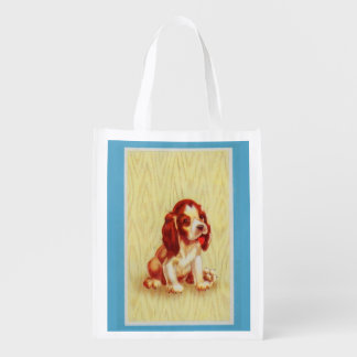 cute little beagle puppy reusable grocery bag