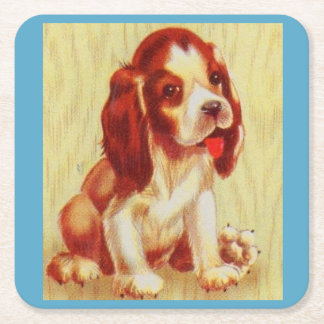 cute little beagle puppy square paper coaster