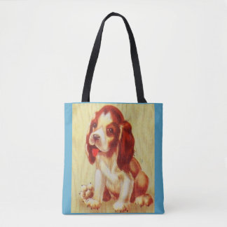 cute little beagle puppy tote bag