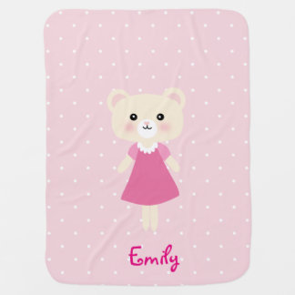 Cute little bear with polka dots Baby Blanket
