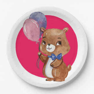 Cute Little Bear With Two Balloons Paper Plate