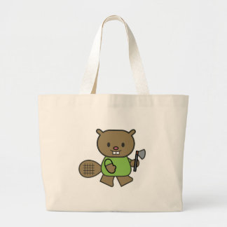 cute little beaver with ax canvas bags