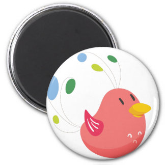 cute little bird flying and singing magnet