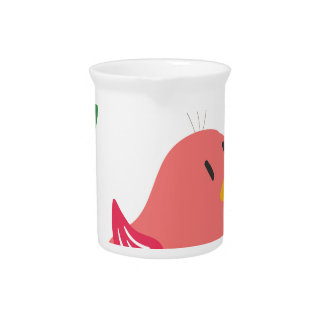 cute little bird flying and singing pitcher