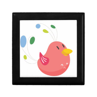 cute little bird flying and singing small square gift box