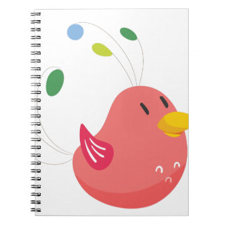 cute little bird flying and singing spiral notebook