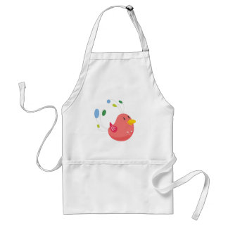 cute little bird flying and singing standard apron