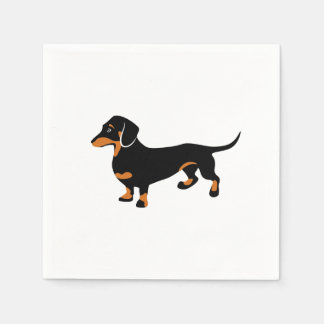 Cute Little Black and Tan Dachshund - Doxie Dog Disposable Serviette