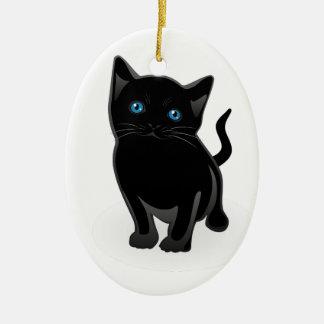 Cute Little Black Cat Ceramic Ornament