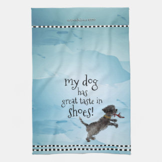 Cute Little Black Dog With Red Sho Tea Towel