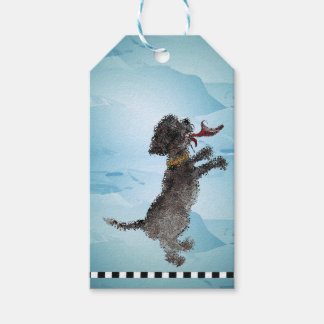 """Cute Little Black Dog With Red Shoe"" Gift Tags"